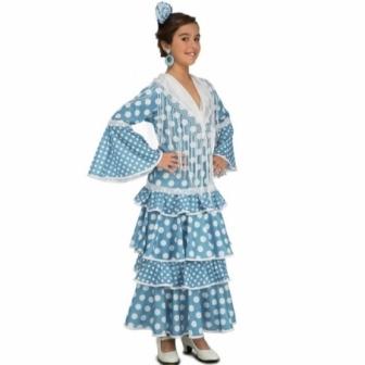 Disfraz Flamenca turquesa para niña