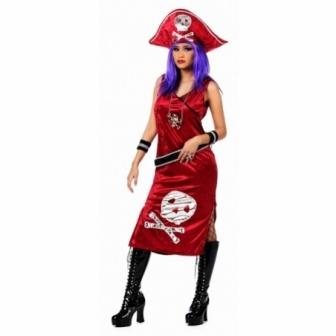 Disfraz Pirata Johanna Roja para mujer