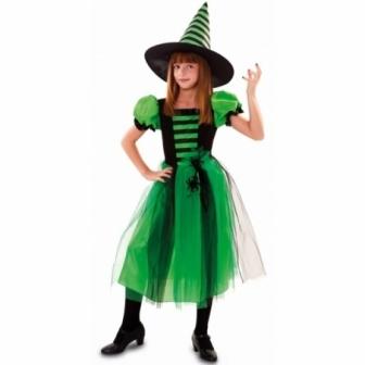Disfraz Bruja Verde con arañas infantil