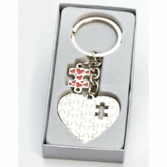 12 Llaveros corazón puzzle en cajitas