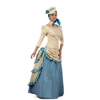 Disfraz Polisón Verde para mujer deluxe