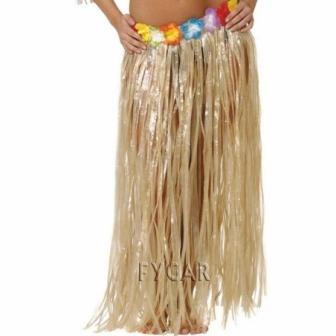 Falda Hawaiana Flores Larga beig