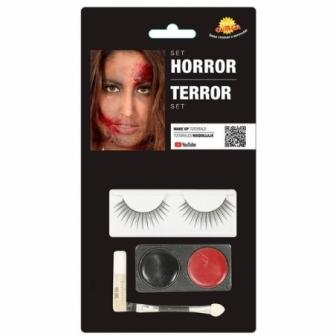 Set Maquillaje con pestañas negro/rojo