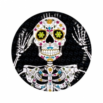 6 Platos desechables Dia de los muertos