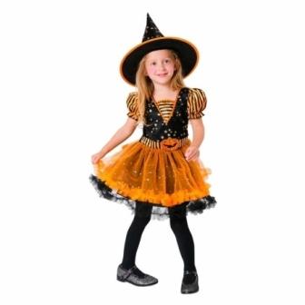 Disfraz Brujita naranja para niña