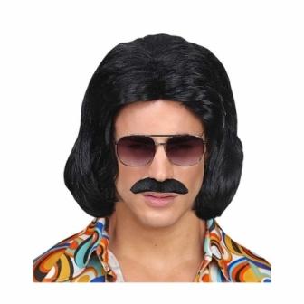 Peluca  negra  Dandy años 70 con bigote