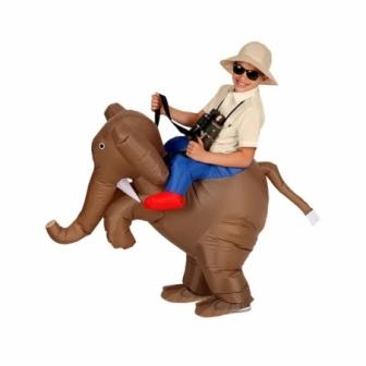 Disfraz Explorador en elefante hinchable
