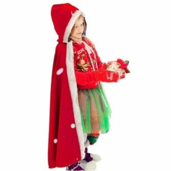Capa Navidad con capucha 90 cm  infantil