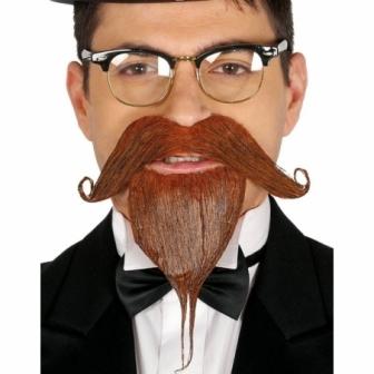 Barba y bigote castaño con adhesivo