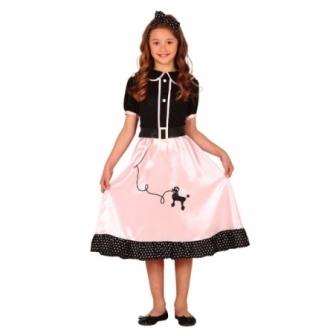 Disfraz Pin Up rosa años 50 para niña