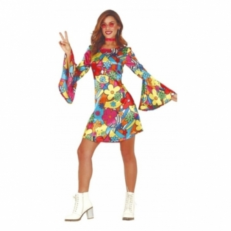 Disfraz Hippie flores mujer