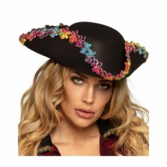 Sombrero Pirata 3 picos flores mujer