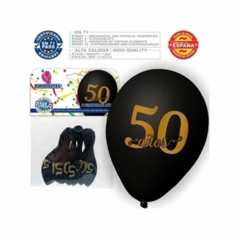 Globos 50 años  negro 6 uds
