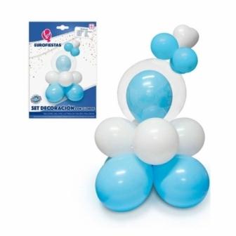 Set Decoración Azul/Rosa con globos