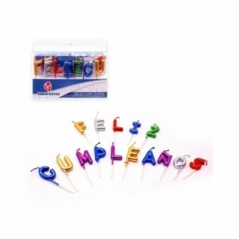 Velas letras Feliz Cumpleaños metalizada