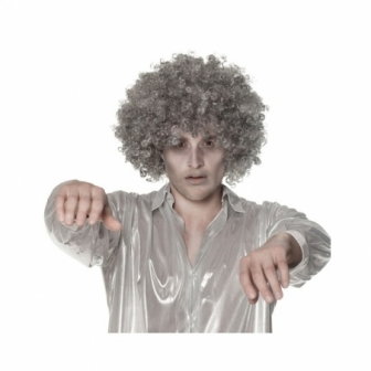 Peluca rizos gris fantasma