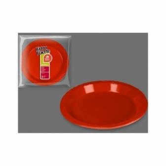 Platos Extra Fuerte Rojo 25.5cm  3uds.