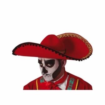 Sombrero mexicano rojo fieltro adulto