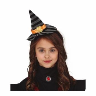Diadema mini sombrero bruja Plata-negro
