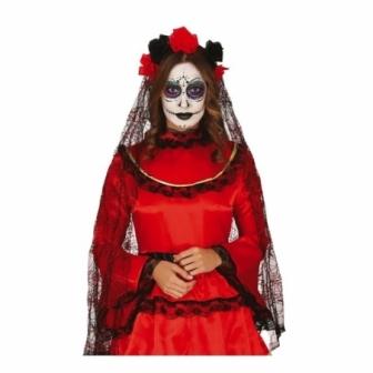 Diadema flores negras y rojas con velo