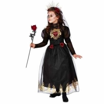 Disfraz Novia negra corazón sagrado niña