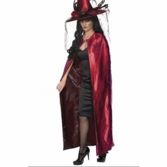 Capa Bruja reversible Roja y negra mujer