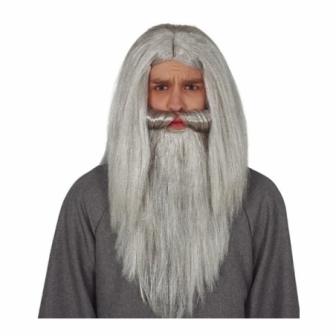 Peluca y barba gris en caja