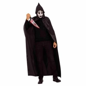 Capa Negra con Capucha y Máscara