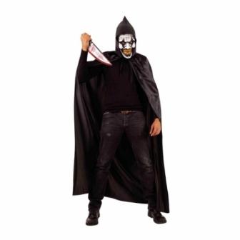Capa Negra con Capucha y Máscara Payaso