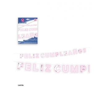 Guirnalda Feliz Cumple borde rosa