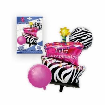 Set globos poliamida Tarta Happy Birthda