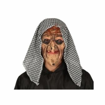 Máscara Bruja látex con capucha