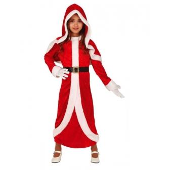 Traje Mama Noel con capucha para niña