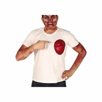 Camiseta con corazón de látex adulto