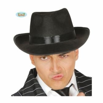 Sombrero Gánster Negro Cinta Negra