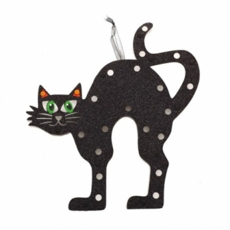 Gato pared con luz 28x30 cms.
