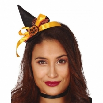 Diadema mini sombrero Bruja negro