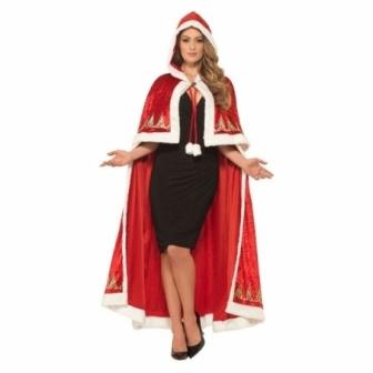 Capa roja mama noel con capucha Deluxe