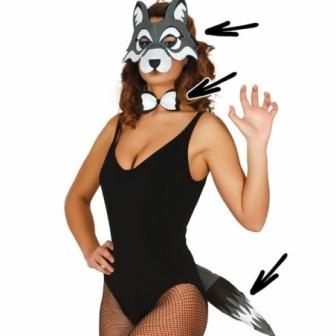 Conjunto Gato: Mascara+pajarita+cola