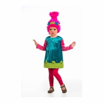 Disfraz Troll Niña Con Peluca Infantil