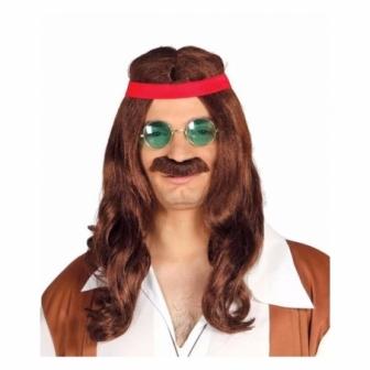 Peluca Hippie con bigote en caja