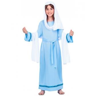 Disfraz Virgen María celeste para niña