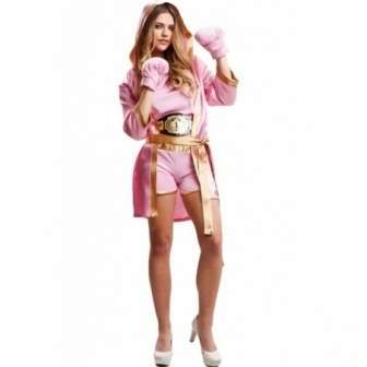 Disfraz Boxeadora Rosa mujer