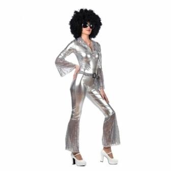Disfraz Diva disco plata para mujer