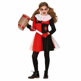 Disfraz Arlequin rojo/negro para niña