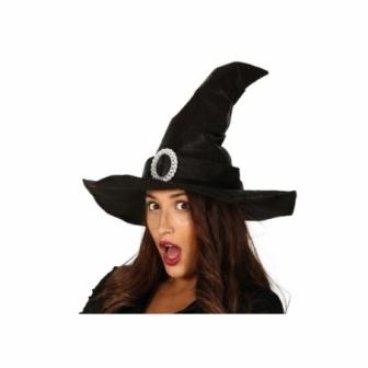 Sombrero Bruja negro simil piel adulta