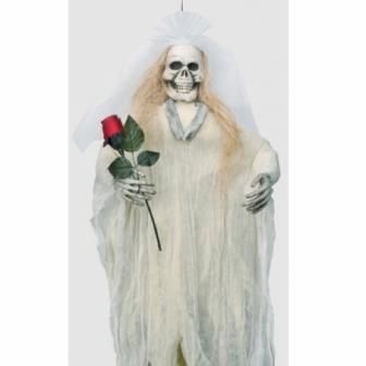 Esqueleto Novia Colgante Con Rosa En Man