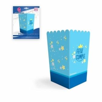 Caja Palomitas Feliz Cumple azul