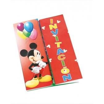 Invitaciones Mickey C/sobre 6 Unid.