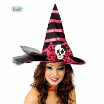 Sombrero Bruja Rosa Rayas